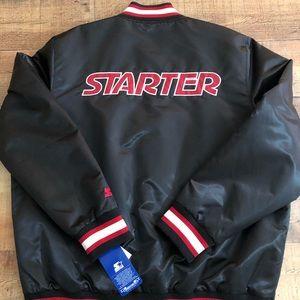 $225 NWT STARTER SATIN BLACK JACKET SPELLOUT 2XL